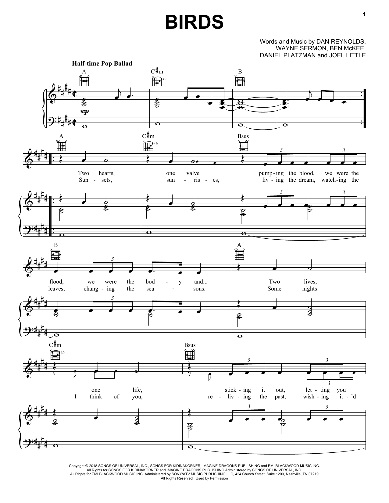 Imagine Dragons Birds sheet music notes and chords. Download Printable PDF.