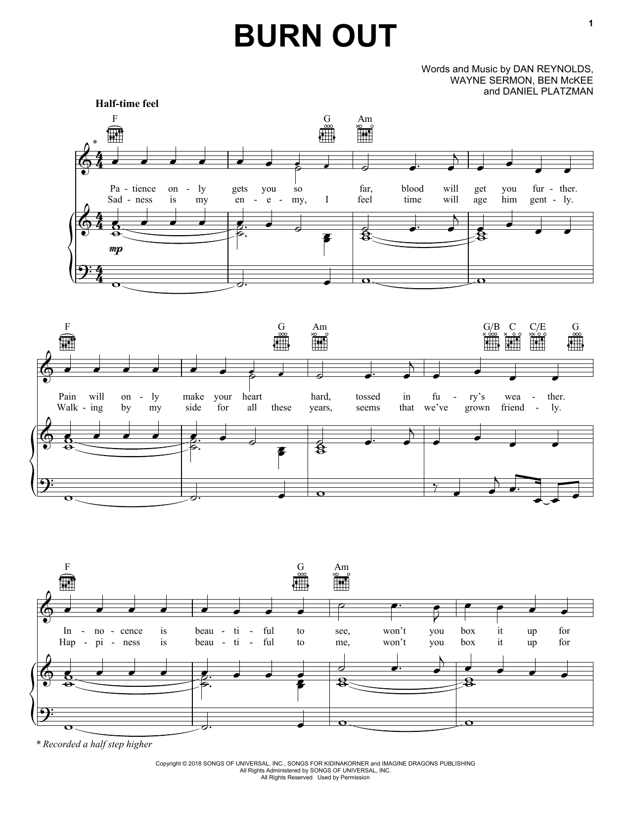 Imagine Dragons Burn Out sheet music notes and chords. Download Printable PDF.