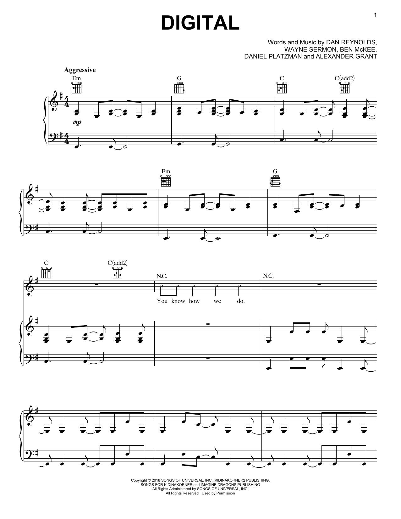 Imagine Dragons Digital sheet music notes and chords. Download Printable PDF.