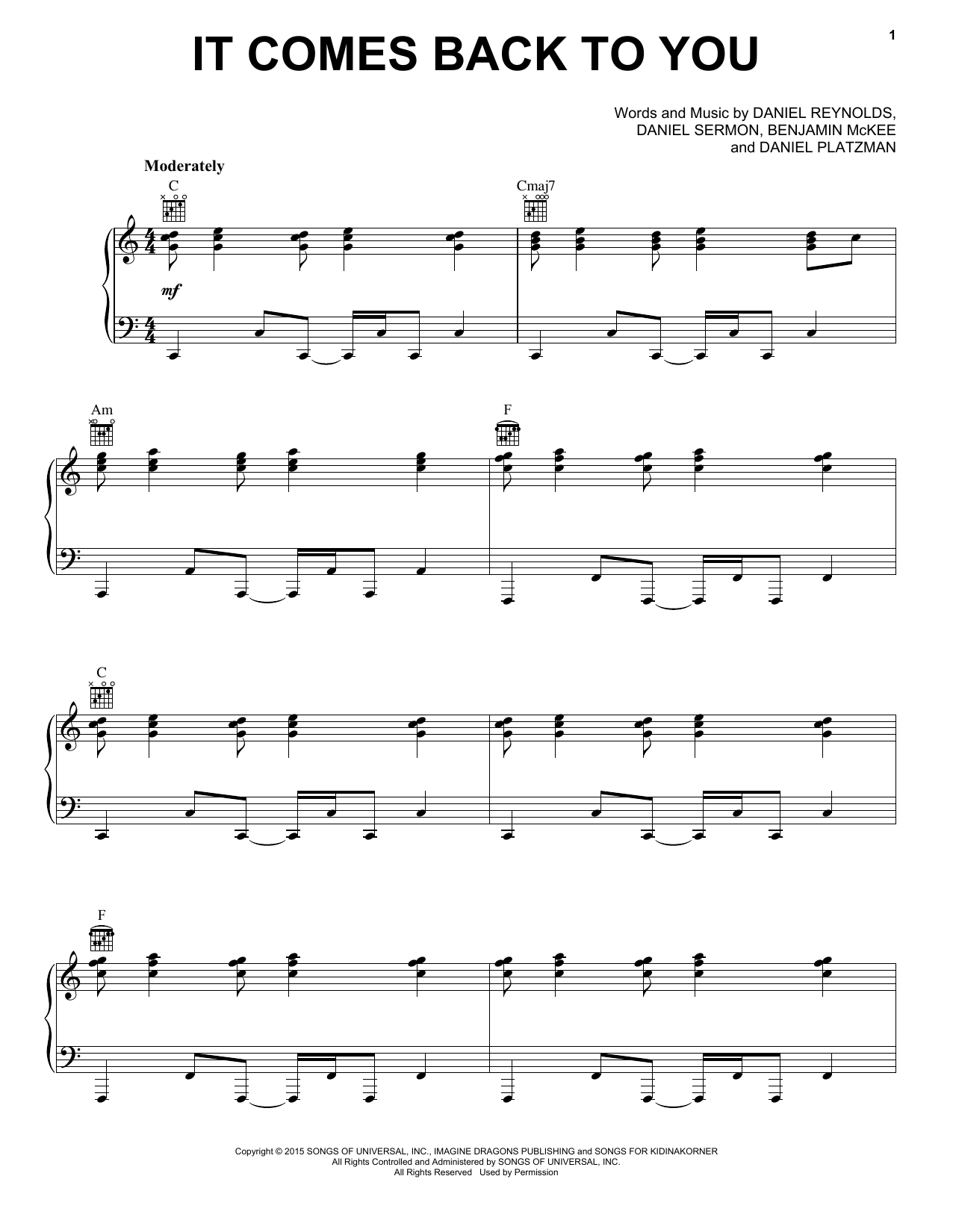 Imagine Dragons It Comes Back To You sheet music notes and chords