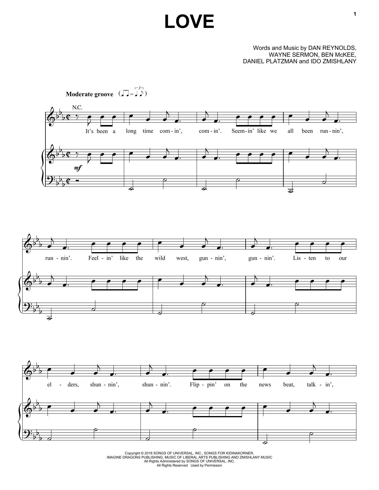 Imagine Dragons Love sheet music notes and chords. Download Printable PDF.