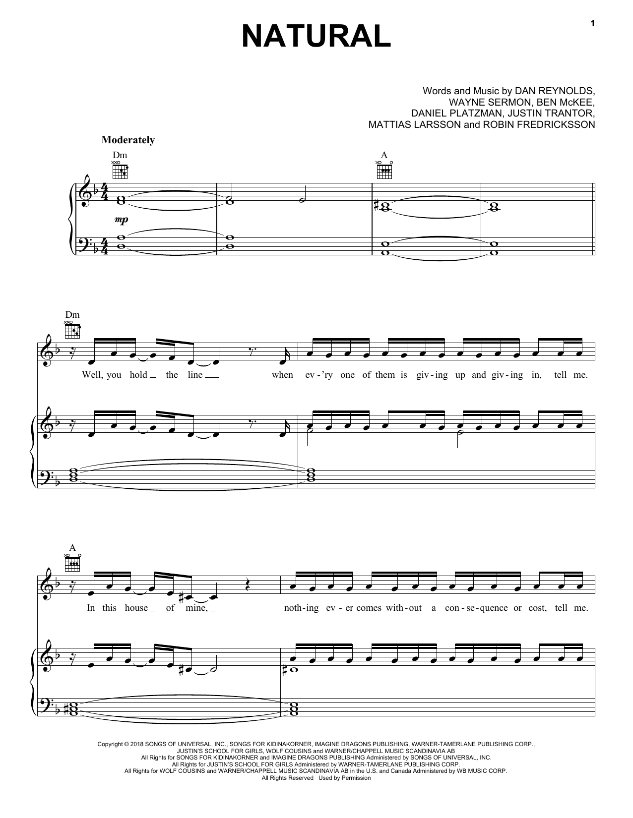 Imagine Dragons Natural sheet music notes and chords. Download Printable PDF.