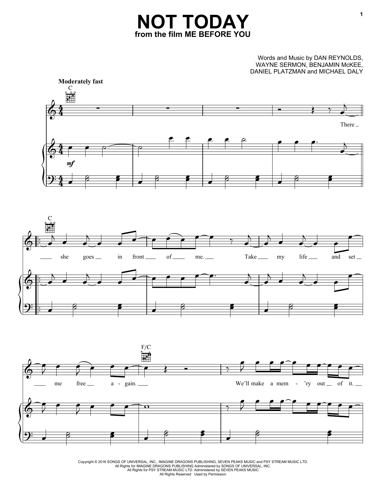 Imagine Dragons Not Today (from Me Before You) sheet music notes and chords. Download Printable PDF.