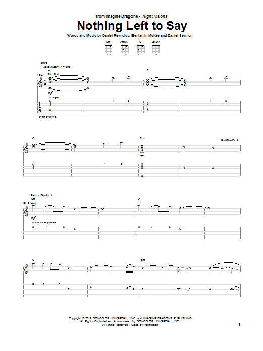 Imagine Dragons Nothing Left To Say sheet music notes and chords. Download Printable PDF.