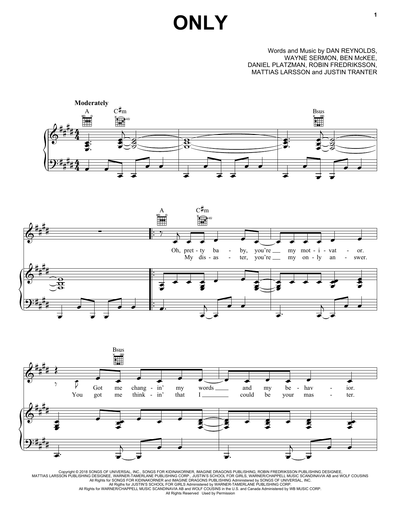 Imagine Dragons Only sheet music notes and chords. Download Printable PDF.