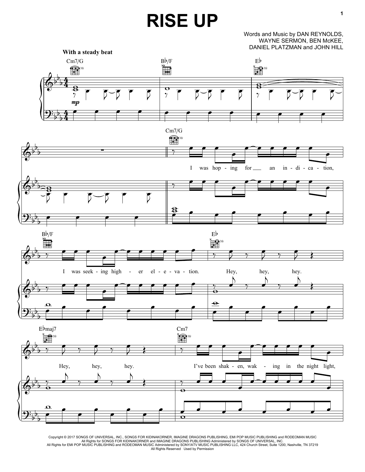 Imagine Dragons Rise Up sheet music notes and chords. Download Printable PDF.