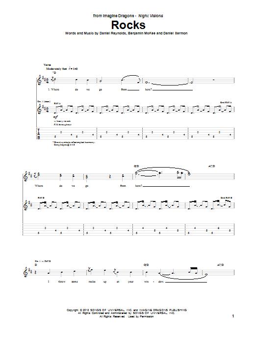 Imagine Dragons Rocks sheet music notes and chords. Download Printable PDF.