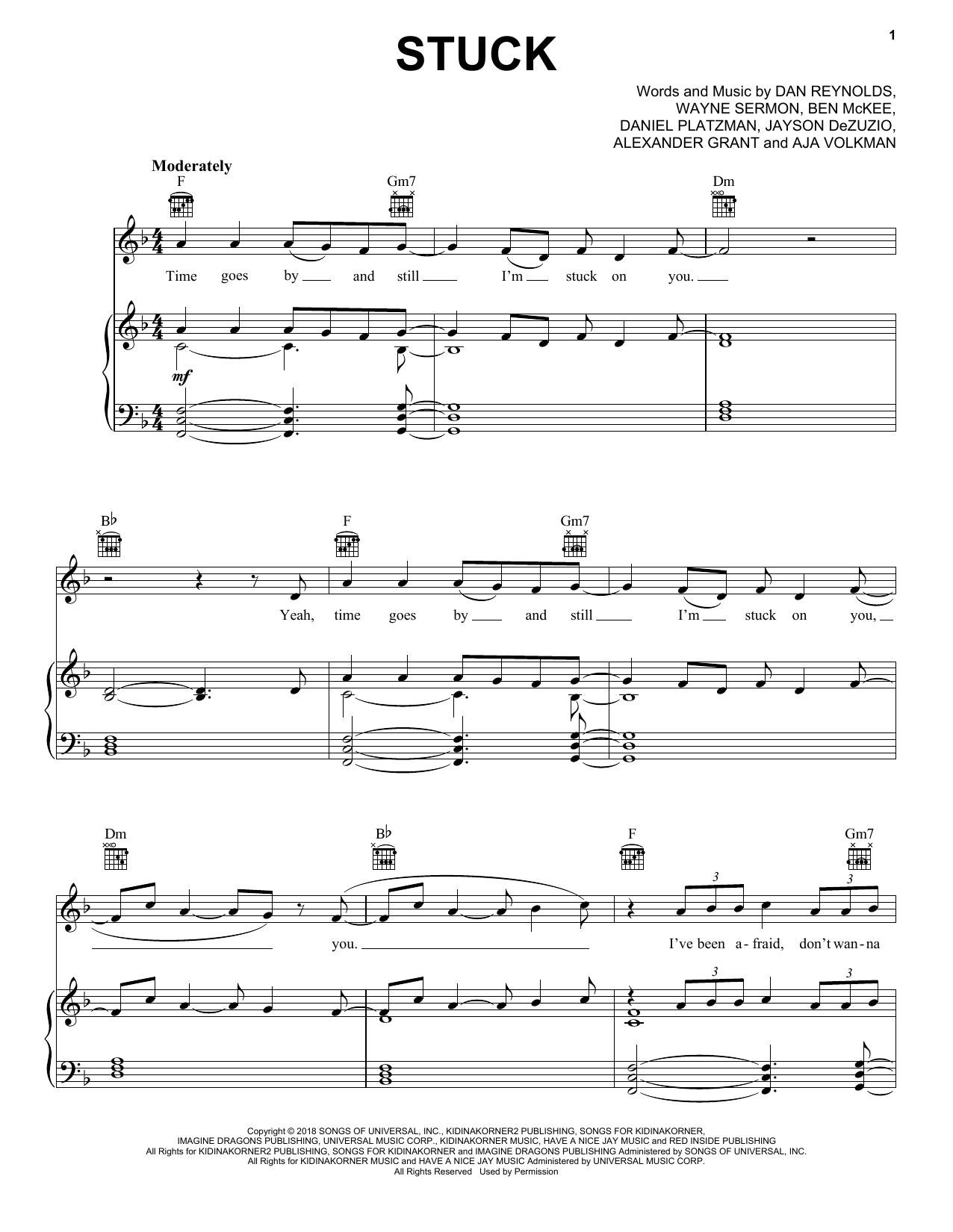 Imagine Dragons Stuck sheet music notes and chords. Download Printable PDF.