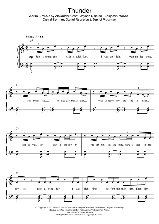 Imagine Dragons Thunder sheet music notes and chords