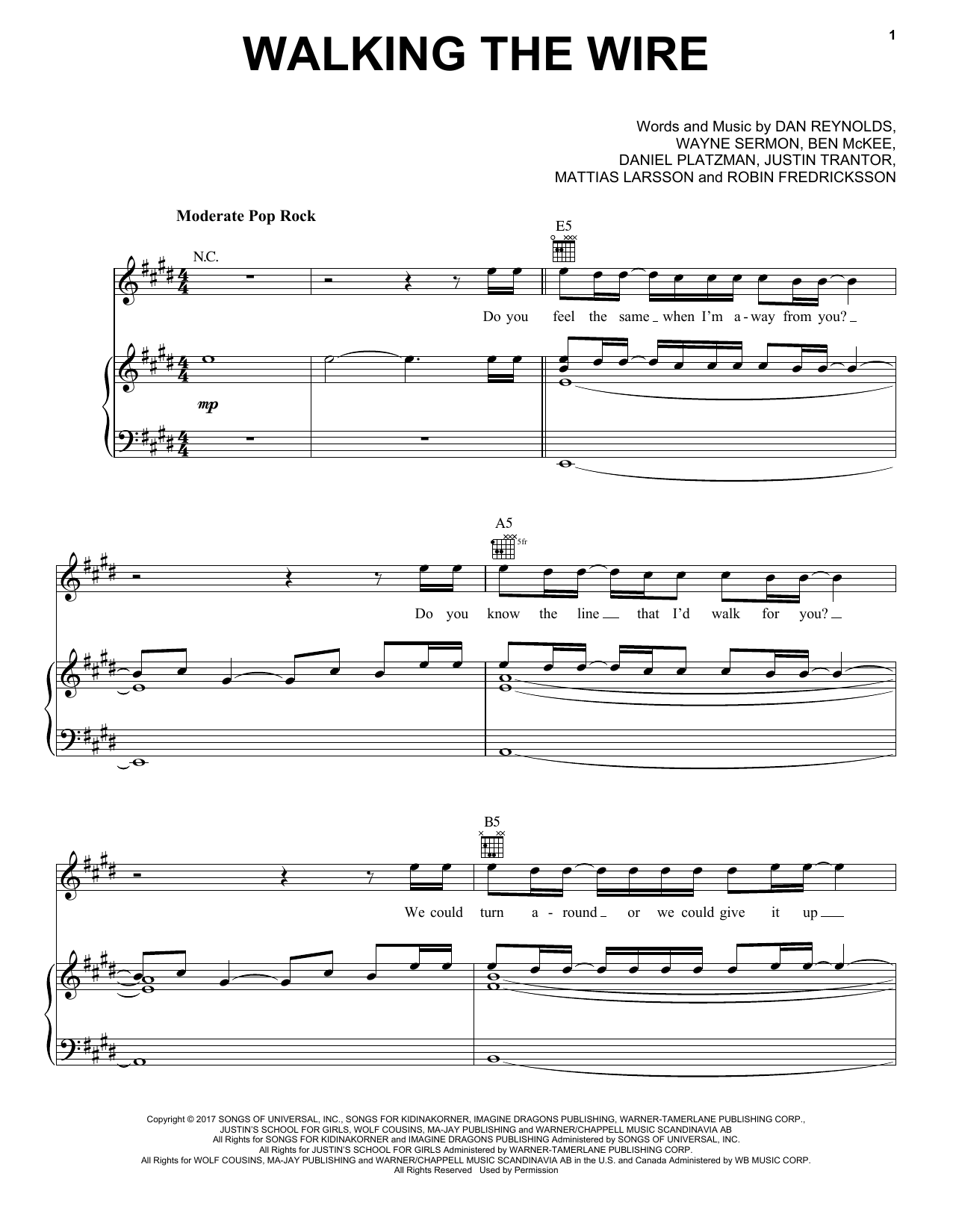 Imagine Dragons Walking The Wire sheet music notes and chords. Download Printable PDF.