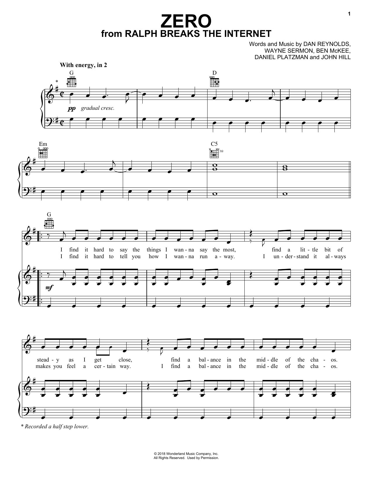 Imagine Dragons Zero (from Ralph Breaks The Internet) sheet music notes and chords. Download Printable PDF.