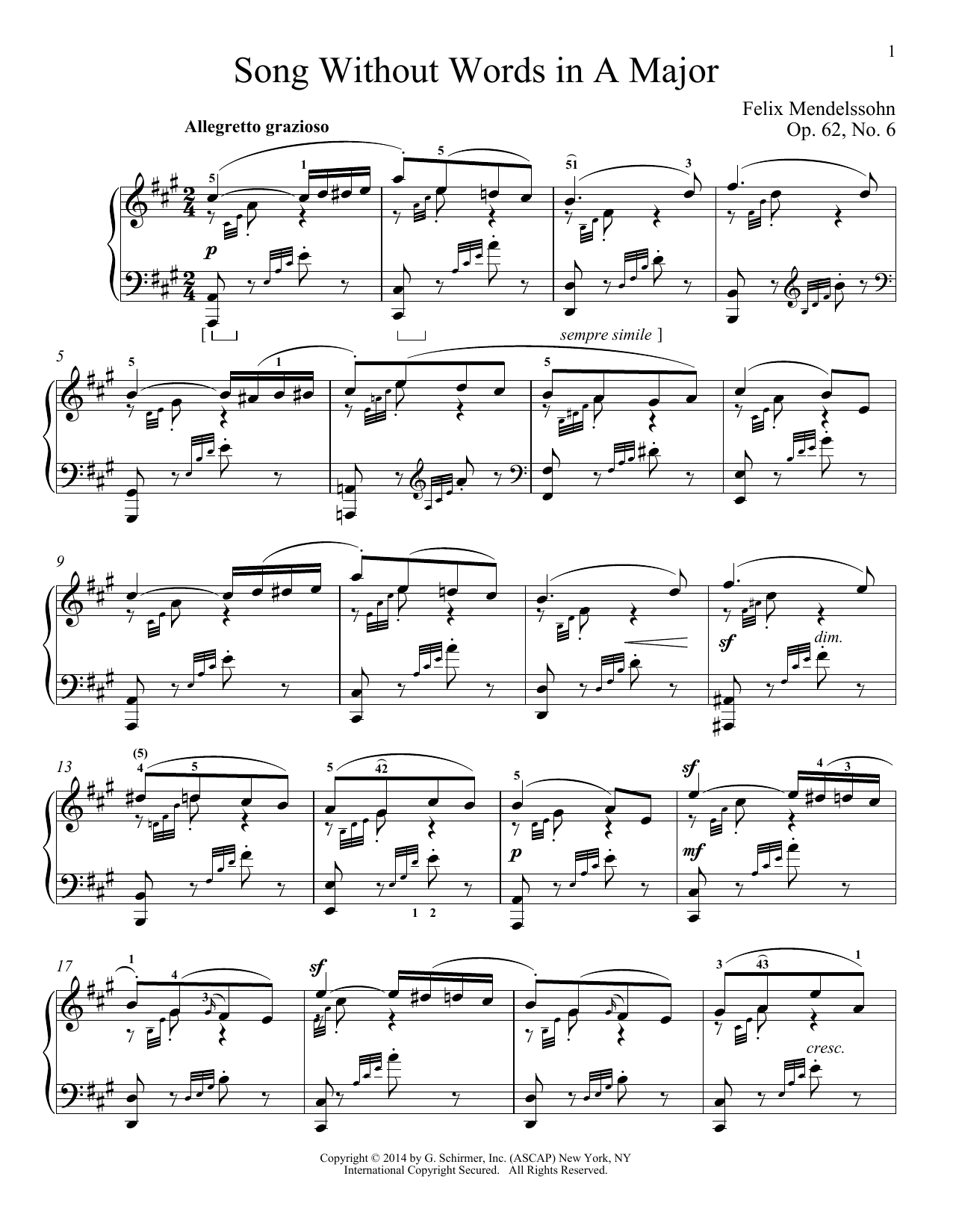 Immanuela Gruenberg Song Without Words In A Major, Op. 62, No. 6 sheet music notes and chords