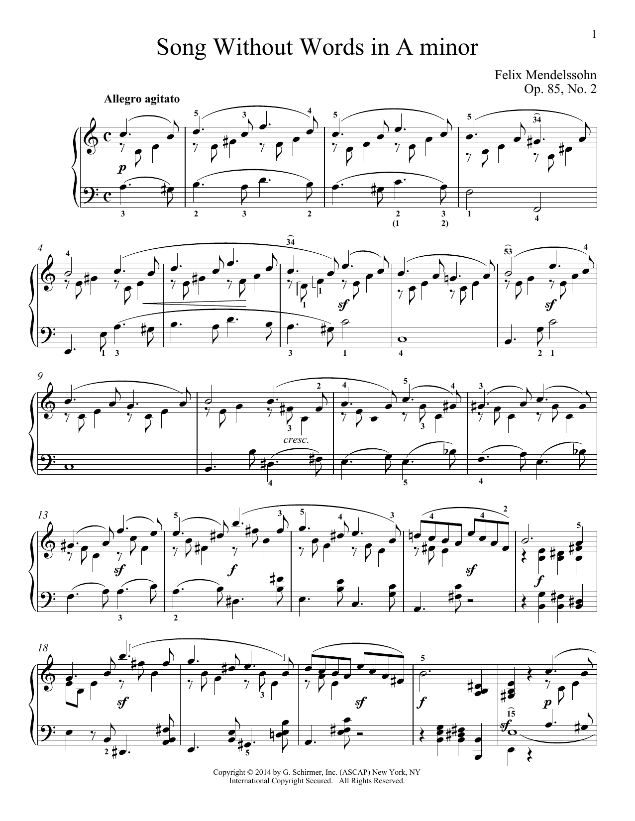 Immanuela Gruenberg Song Without Words In A Minor, Op. 85, No. 2 sheet music notes and chords. Download Printable PDF.