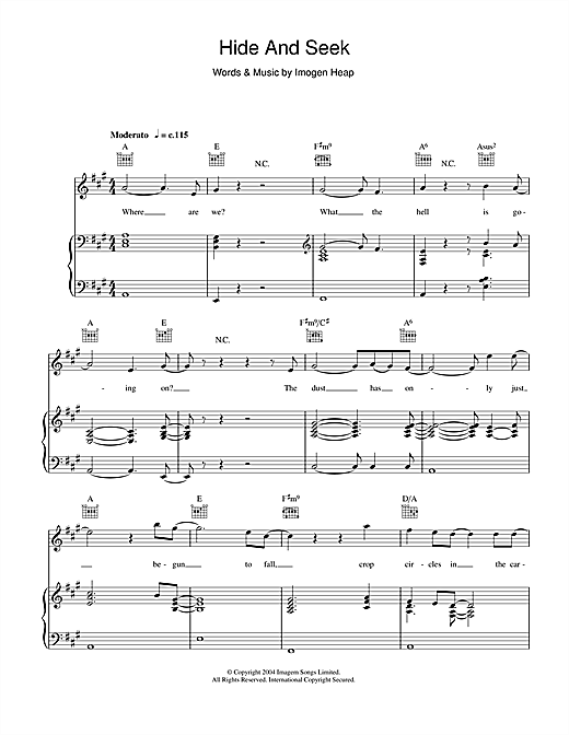 Imogen Heap Hide And Seek sheet music notes and chords. Download Printable PDF.