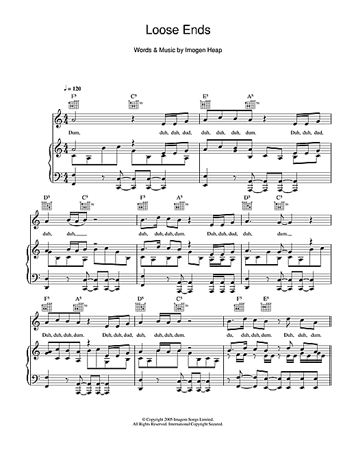 Imogen Heap Loose Ends sheet music notes and chords. Download Printable PDF.