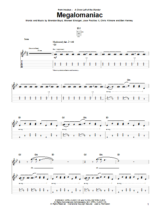 Incubus Megalomaniac sheet music notes and chords. Download Printable PDF.