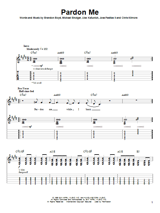 Incubus Pardon Me sheet music notes and chords. Download Printable PDF.