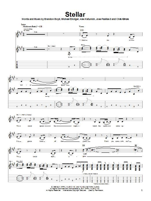 Incubus Stellar sheet music notes and chords. Download Printable PDF.