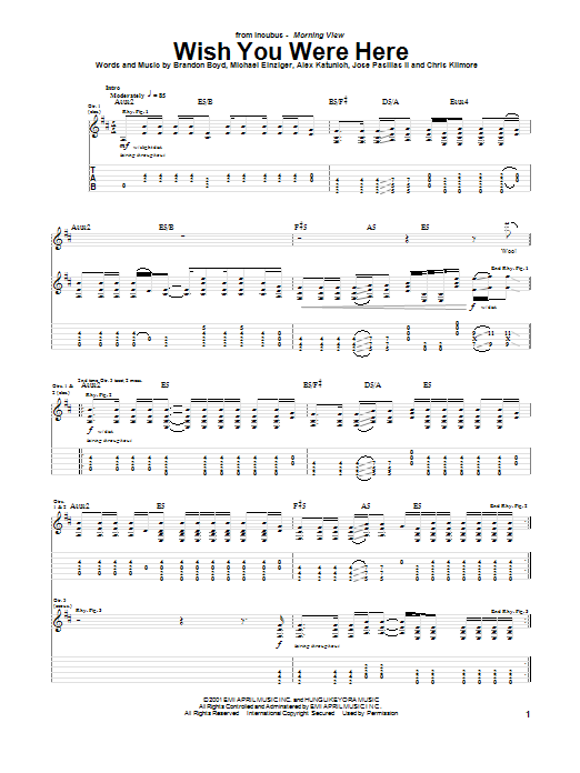 Incubus 'Wish You Were Here' Sheet Music Notes, Chords | Download Printable  Guitar Lead Sheet - SKU: 163762