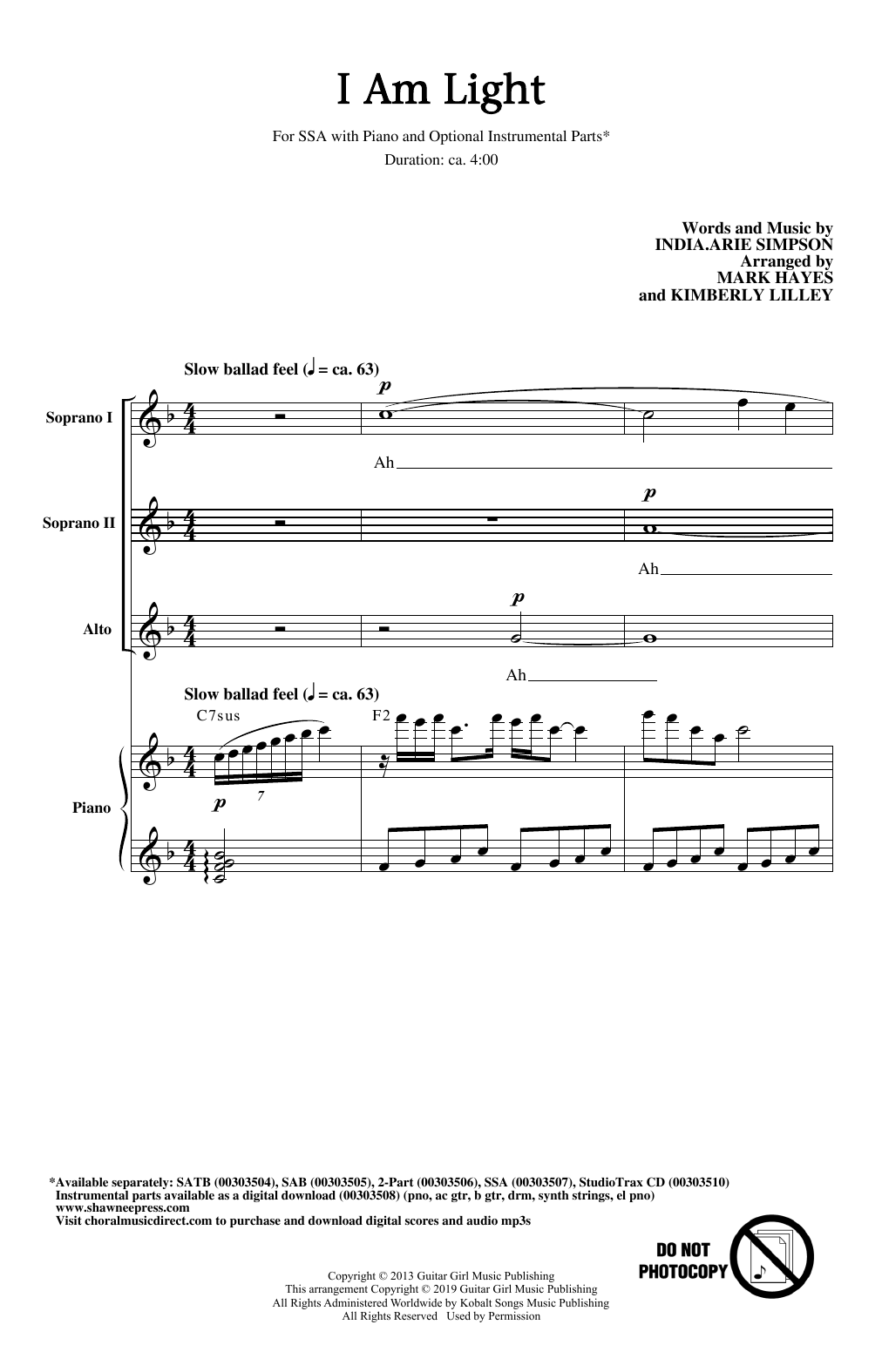 India.Arie I Am Light (arr. Mark Hayes and Kimberly Lilley) sheet music notes and chords