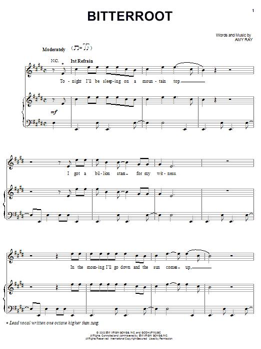 Indigo Girls Bitterroot sheet music notes and chords