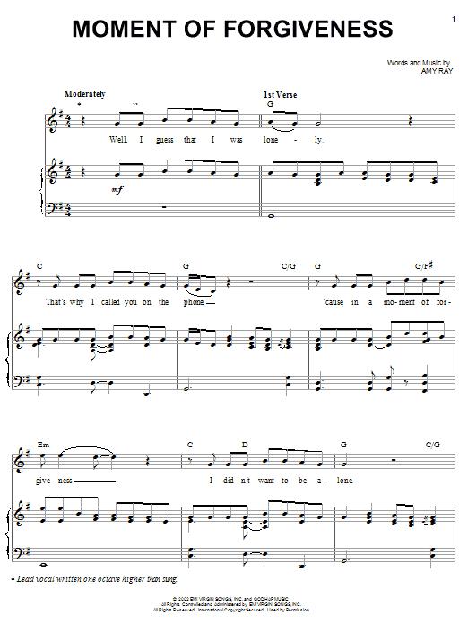 Indigo Girls Moment Of Forgiveness sheet music notes and chords. Download Printable PDF.