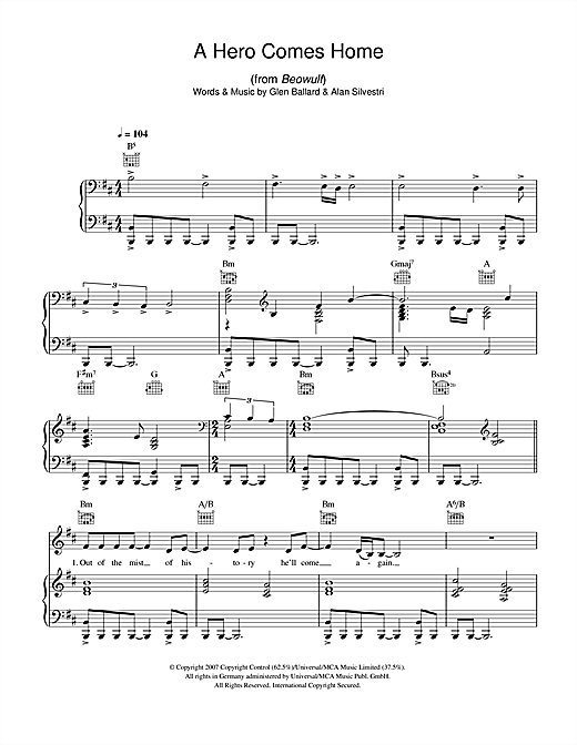 Indina Menzel A Hero Comes Home (from Beowulf) sheet music notes and chords