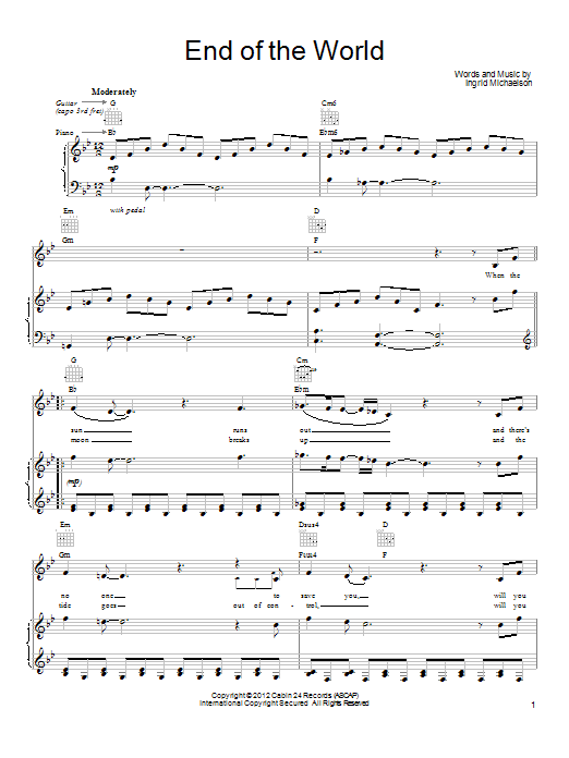 Ingrid Michaelson End Of The World sheet music notes and chords. Download Printable PDF.