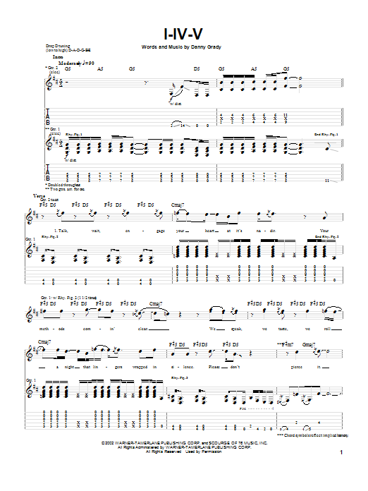 Injected I-IV-V sheet music notes and chords. Download Printable PDF.
