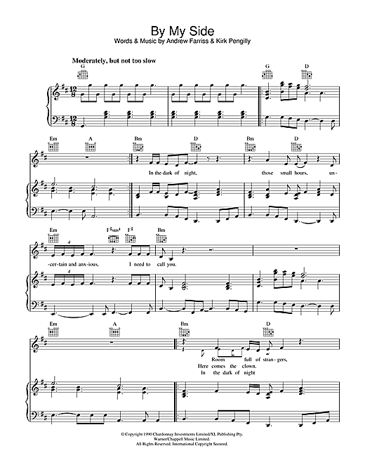 INXS By My Side sheet music notes and chords. Download Printable PDF.