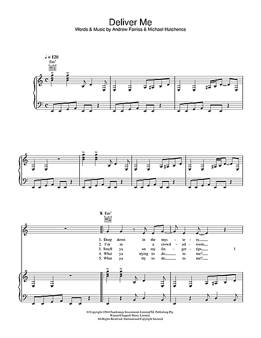 INXS Deliver Me sheet music notes and chords. Download Printable PDF.