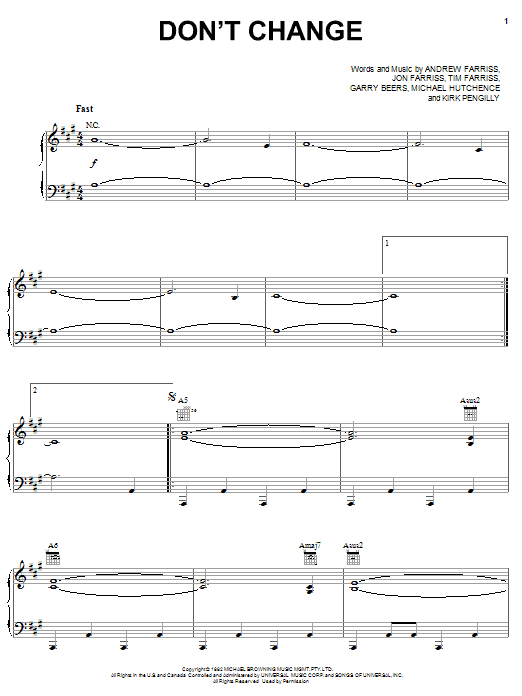 INXS Don't Change sheet music notes and chords. Download Printable PDF.