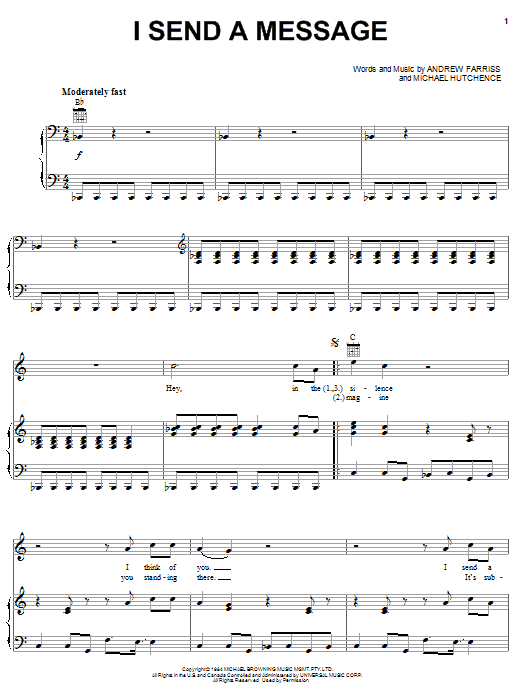 INXS I Send A Message sheet music notes and chords. Download Printable PDF.