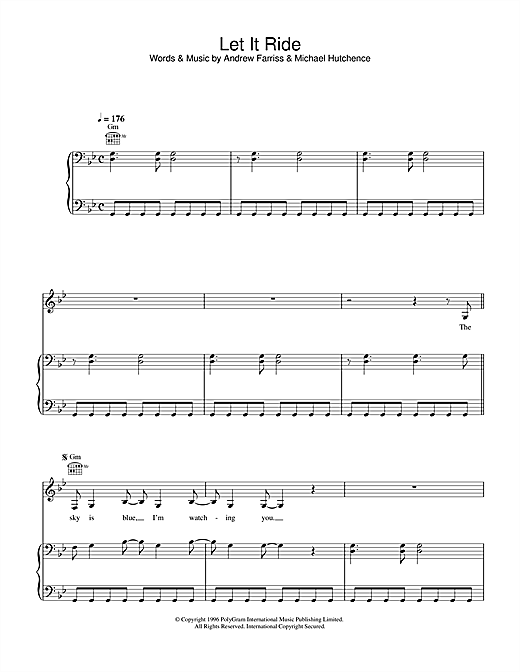 INXS Let It Ride sheet music notes and chords. Download Printable PDF.