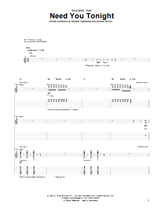 INXS Need You Tonight sheet music notes and chords. Download Printable PDF.