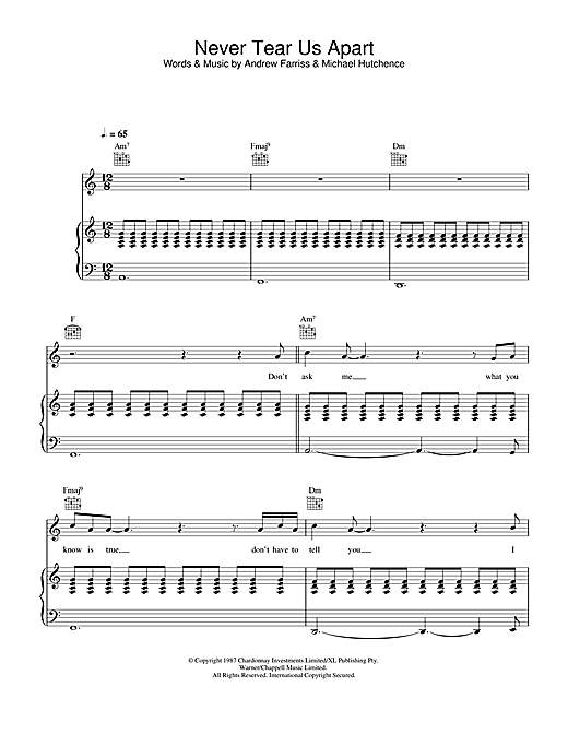 INXS Never Tear Us Apart sheet music notes and chords. Download Printable PDF.