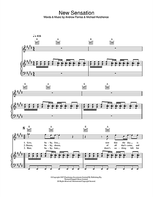 INXS New Sensation sheet music notes and chords. Download Printable PDF.
