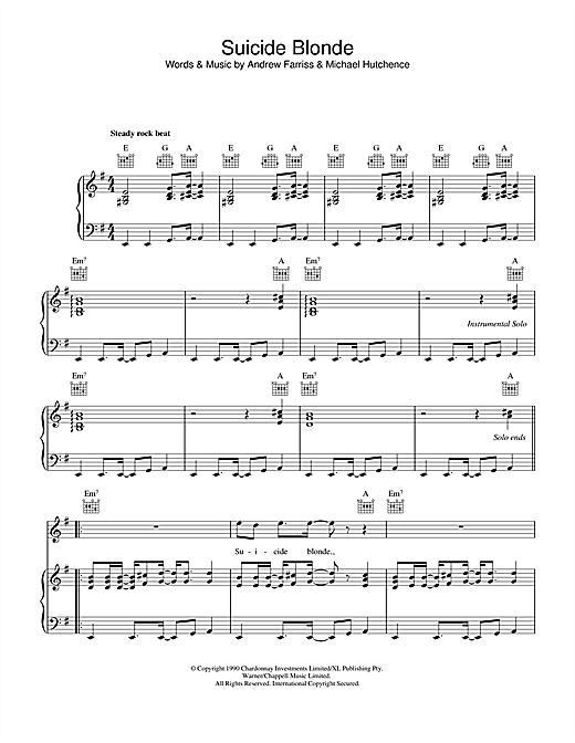 INXS Suicide Blonde sheet music notes and chords. Download Printable PDF.