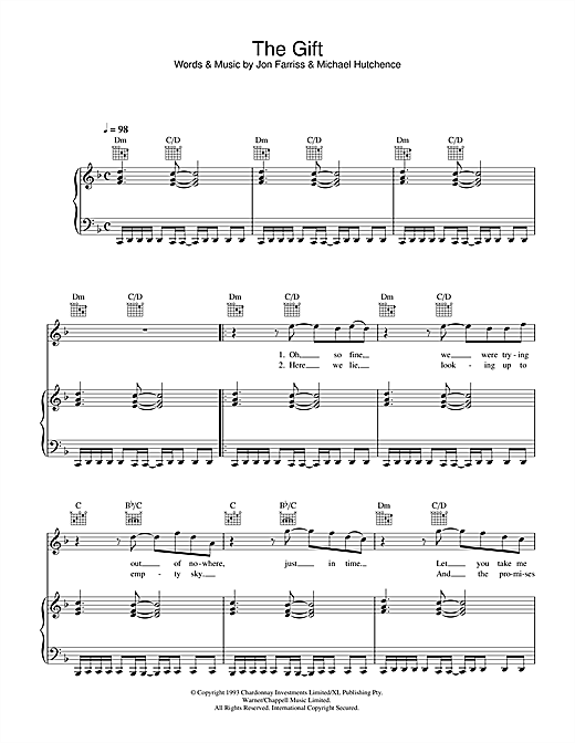 INXS The Gift sheet music notes and chords. Download Printable PDF.