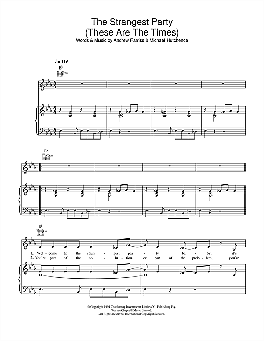 INXS The Strangest Party (These Are The Times) sheet music notes and chords. Download Printable PDF.