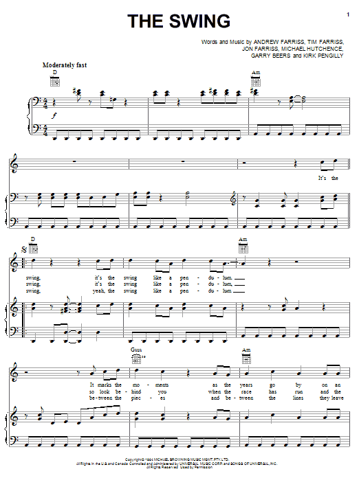 INXS The Swing sheet music notes and chords. Download Printable PDF.