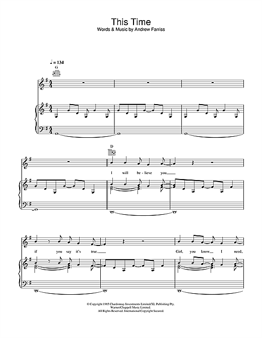 INXS This Time sheet music notes and chords. Download Printable PDF.