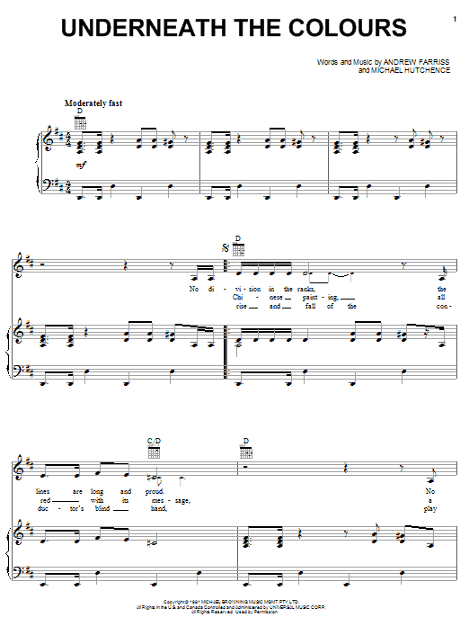 INXS Underneath The Colours sheet music notes and chords. Download Printable PDF.
