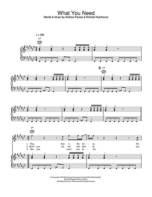 INXS What You Need sheet music notes and chords. Download Printable PDF.