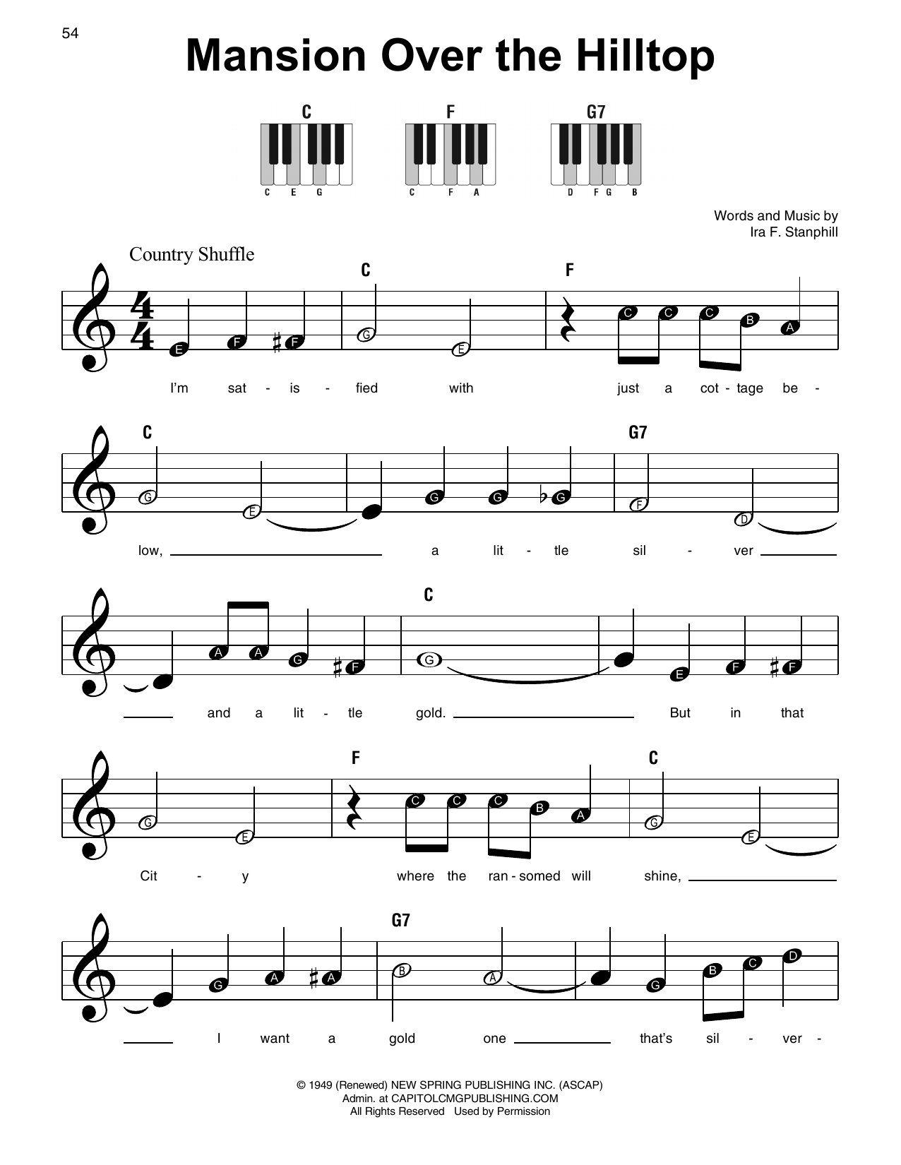 Ira F. Stanphill Mansion Over The Hilltop sheet music notes and chords. Download Printable PDF.