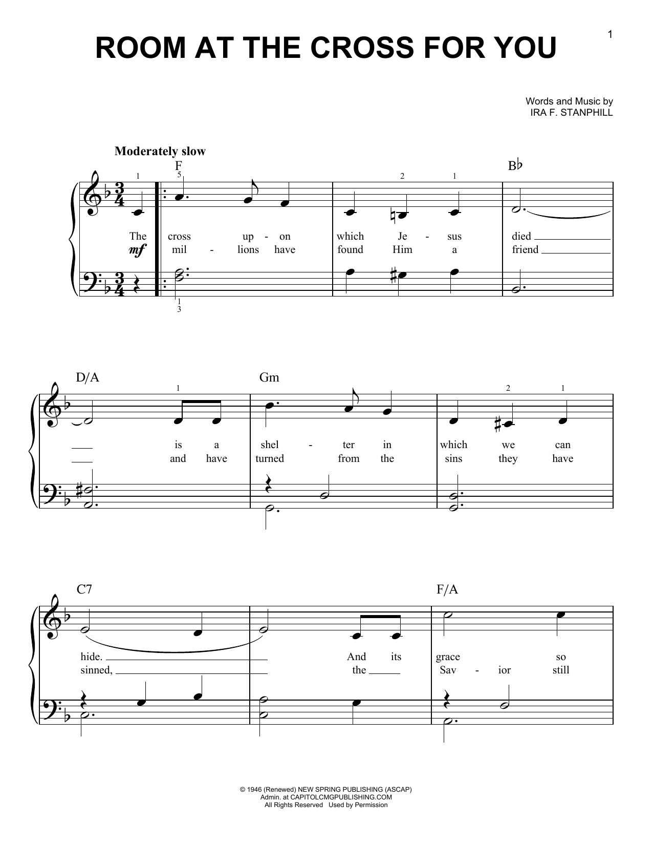 Ira F. Stanphill Room At The Cross For You sheet music notes and chords. Download Printable PDF.