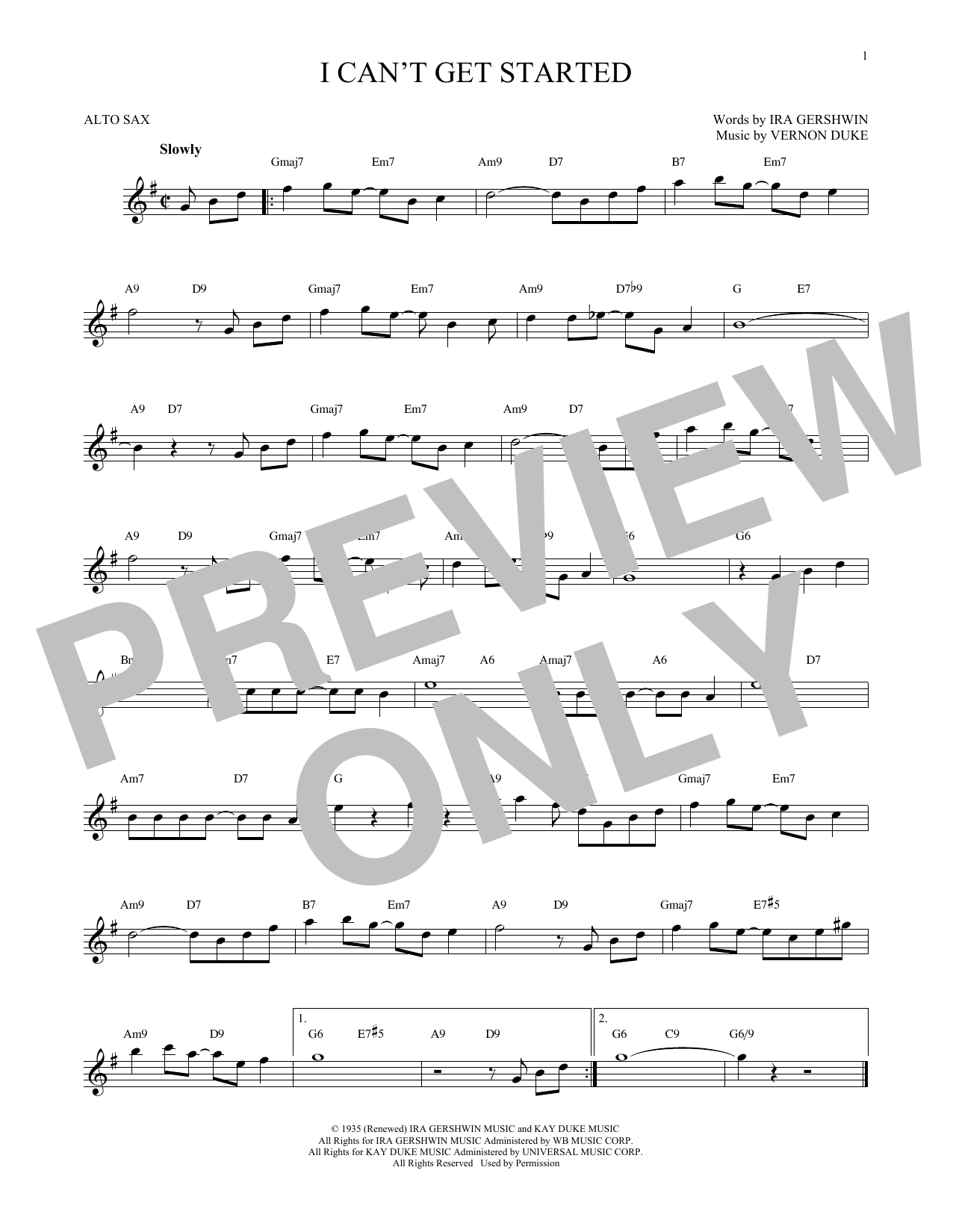 Ira Gershwin I Can't Get Started sheet music notes and chords
