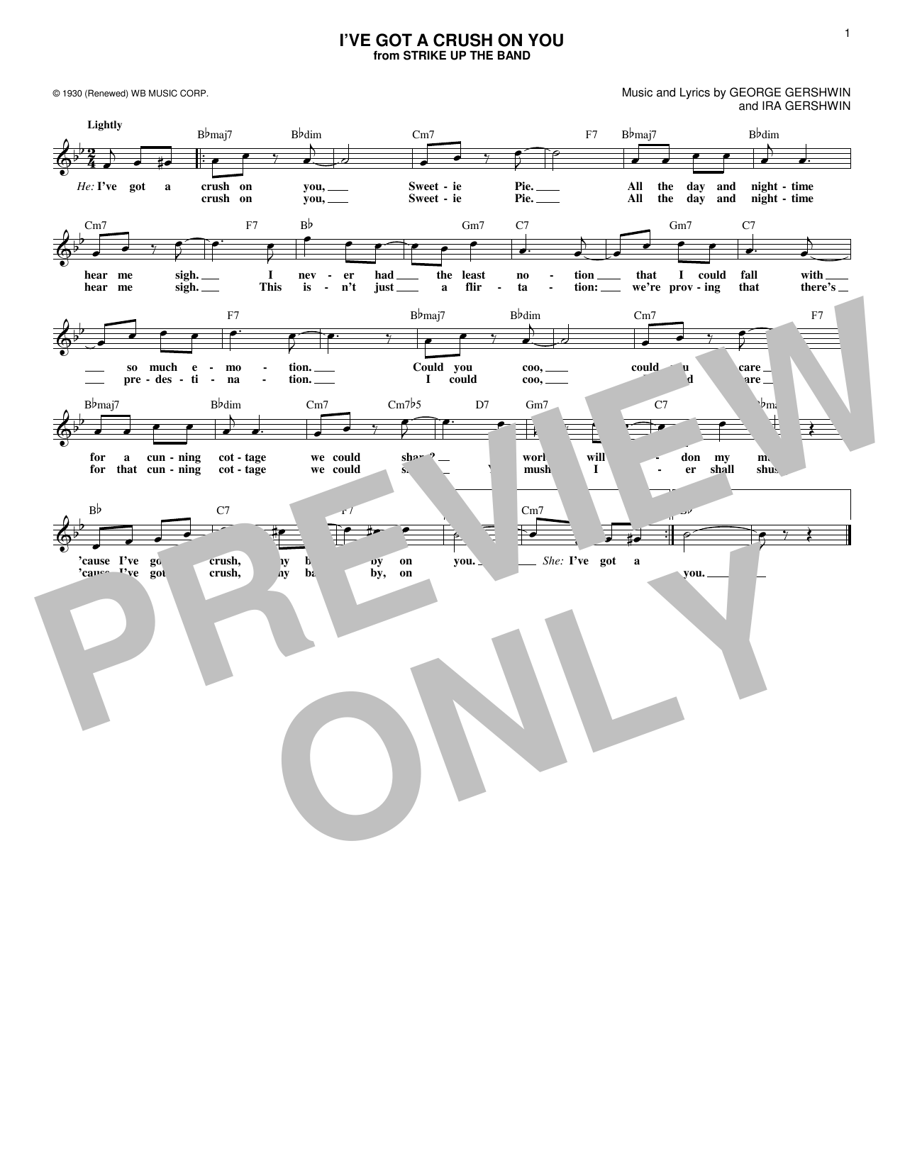 George Gershwin I've Got A Crush On You sheet music notes and chords. Download Printable PDF.