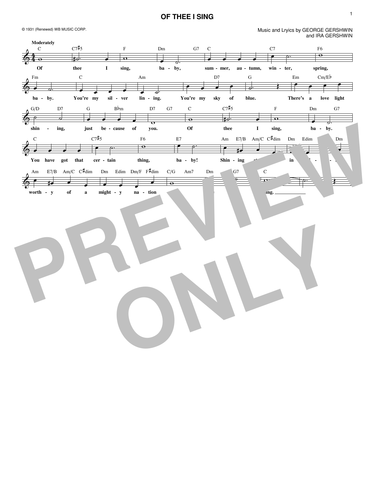 Ira Gershwin Of Thee I Sing sheet music notes and chords. Download Printable PDF.