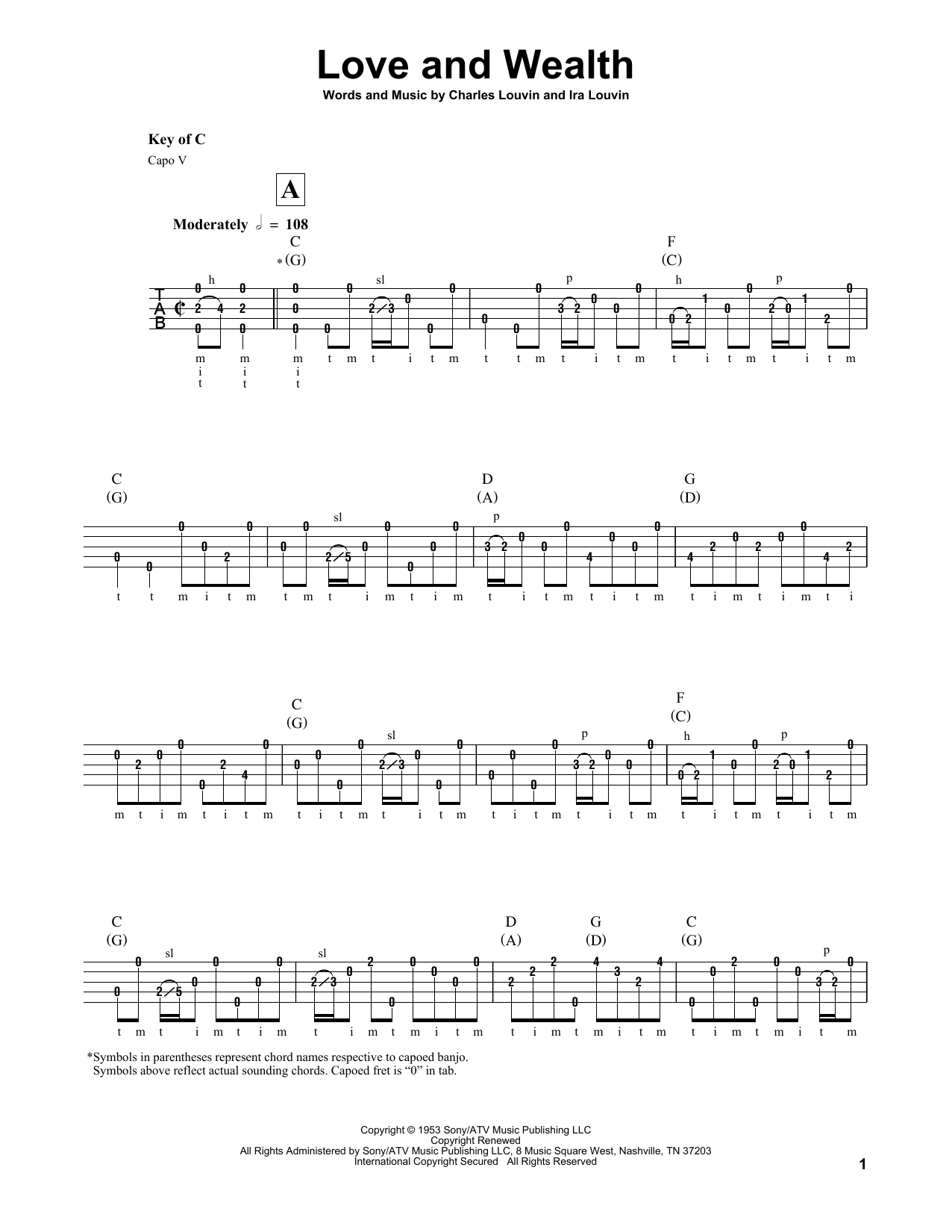 Ira Louvin Love And Wealth sheet music notes and chords. Download Printable PDF.